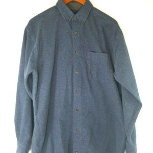 Woolrich Mens Large L/S Button Down Gray Flannel